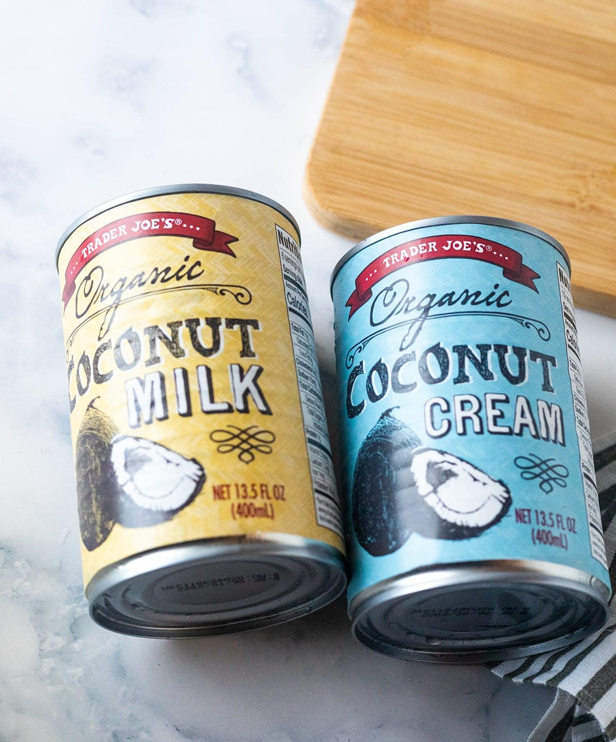 coconut milk and coconut cream in cans