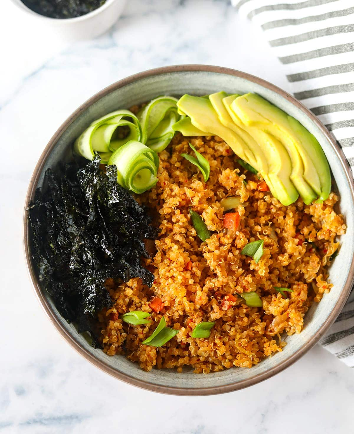 Vegan Kimchi Fried Quinoa