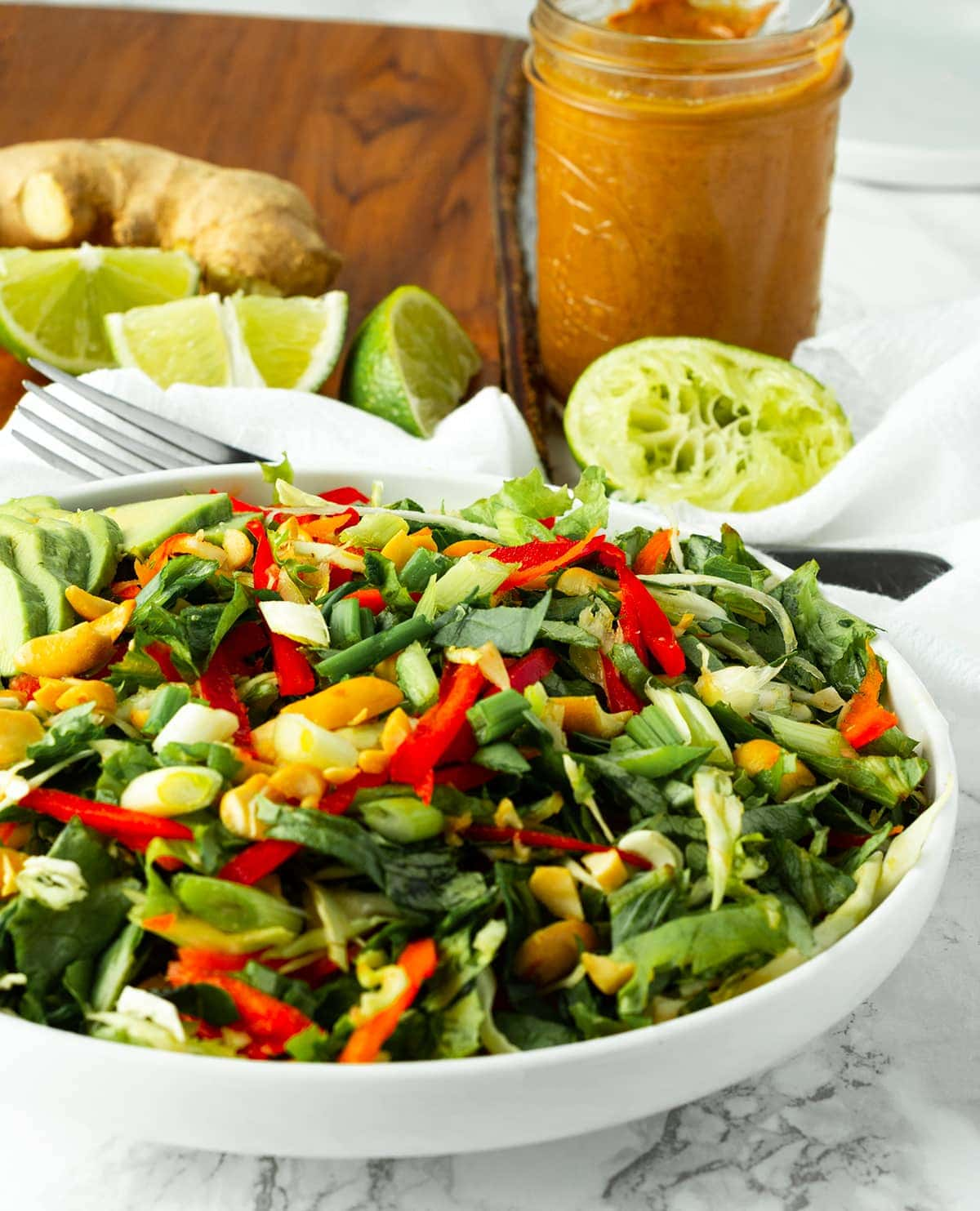Thai Kale Salad With Creamy Peanut Sauce