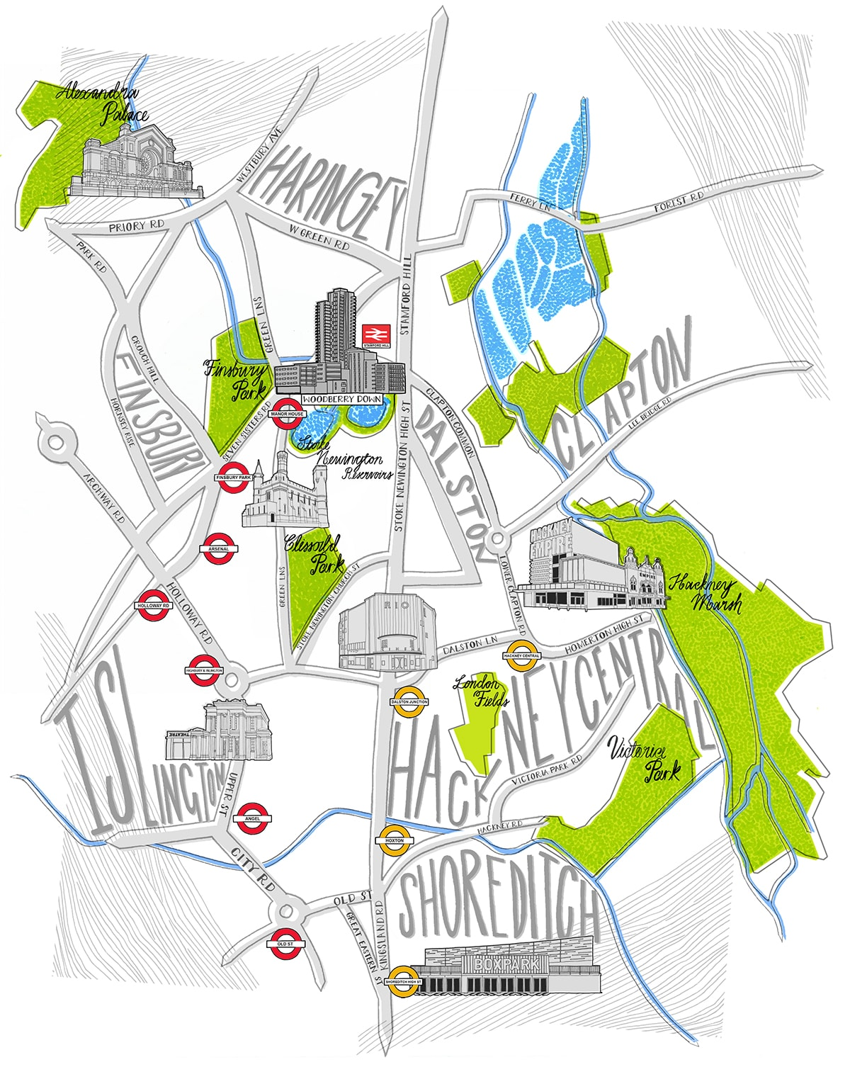 Woodberry Down Magazine Map Jitesh Patel Illustration