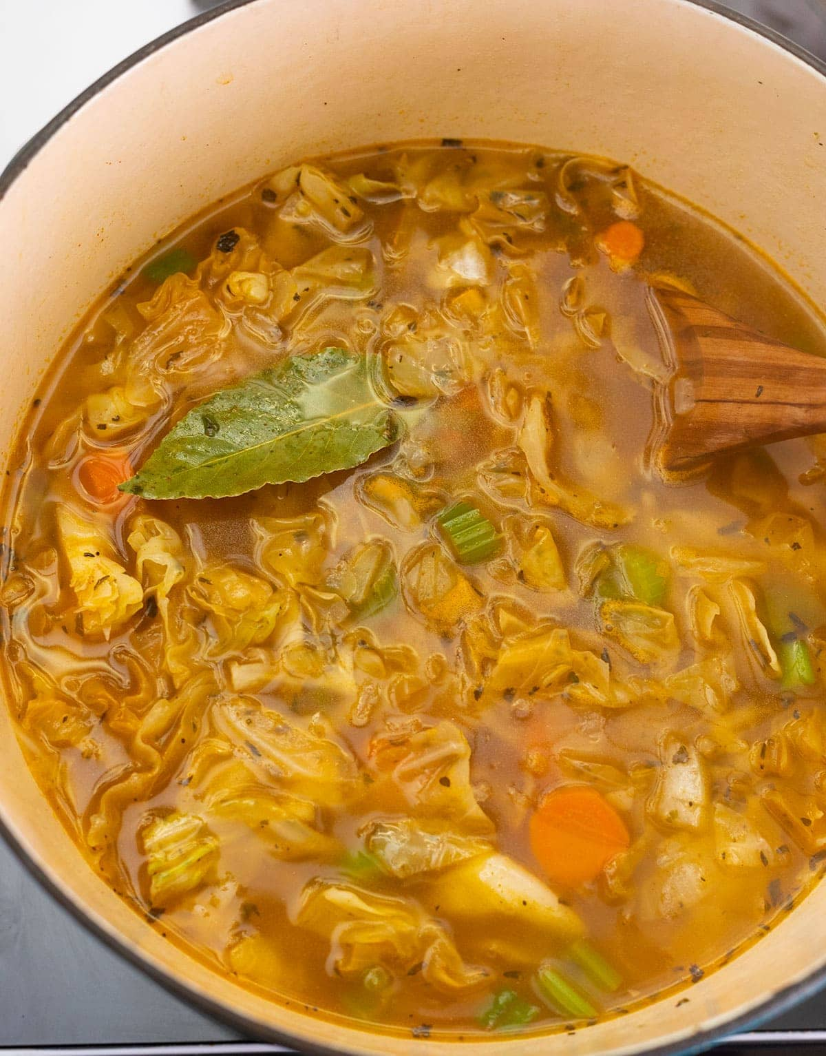 cabbage soup cooking in the pot