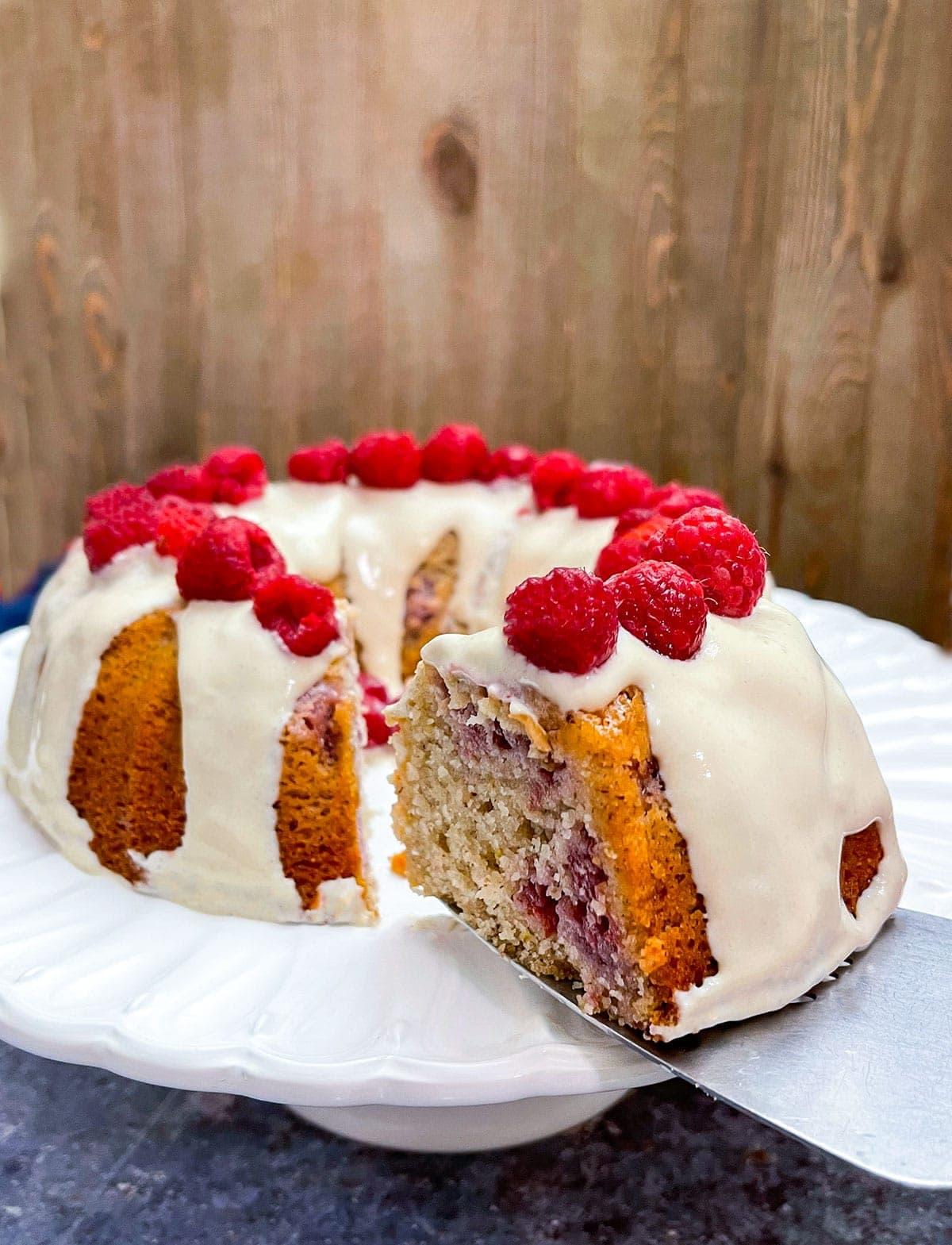 Vegan Lemon Raspberry Bundt Cake