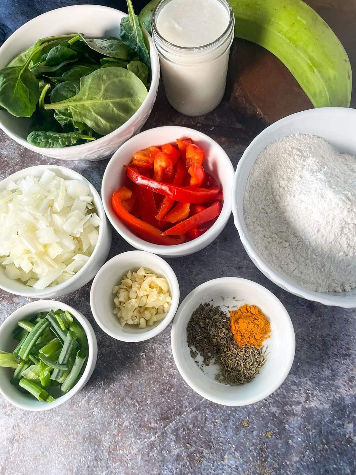 ingredients of plantain dumplings stew