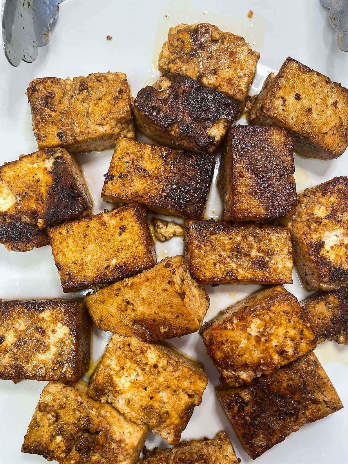 fried marinated tofu for tofu brown stew tofu on a parchment paper
