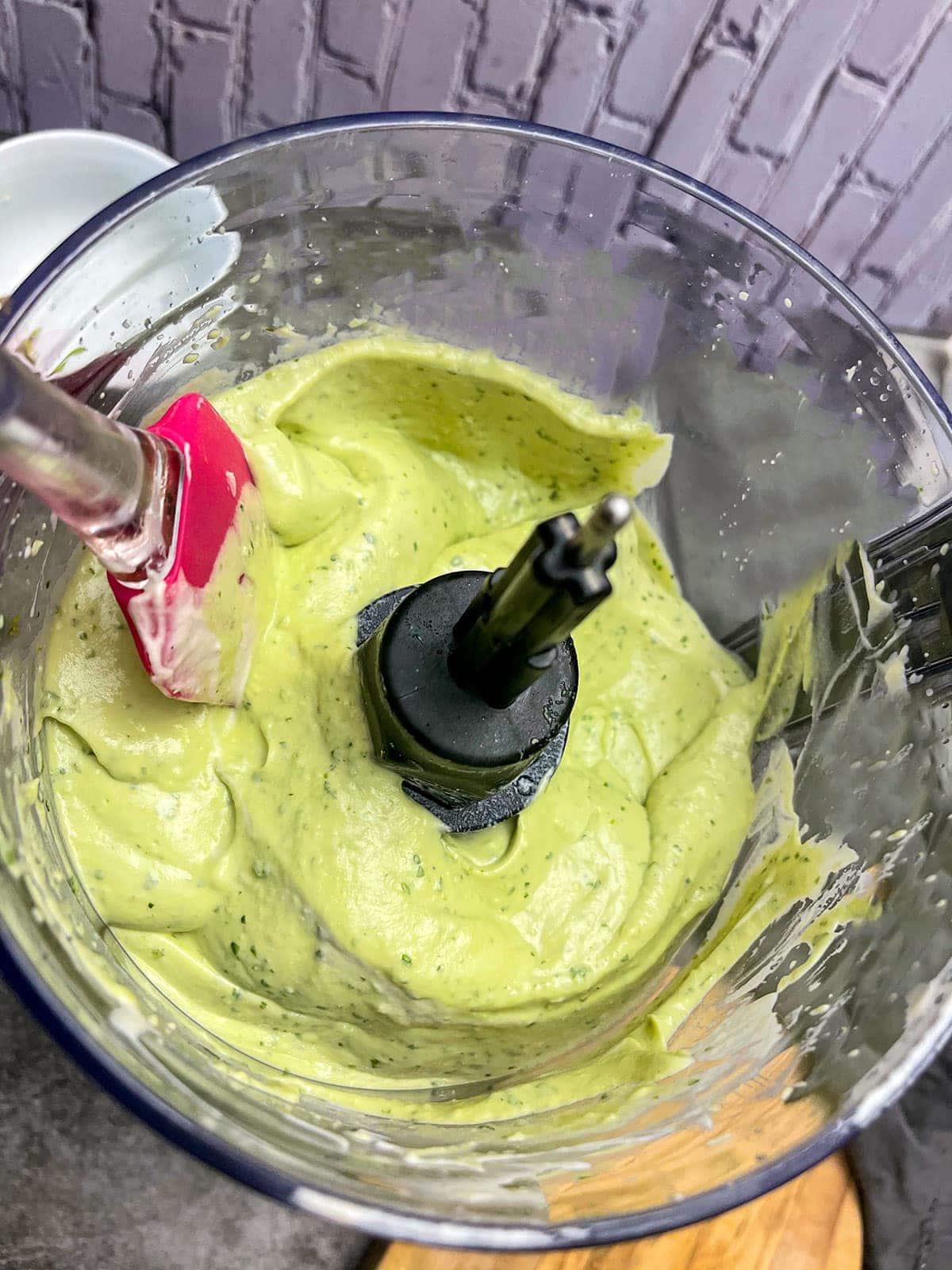 avocado lime crema in food processor