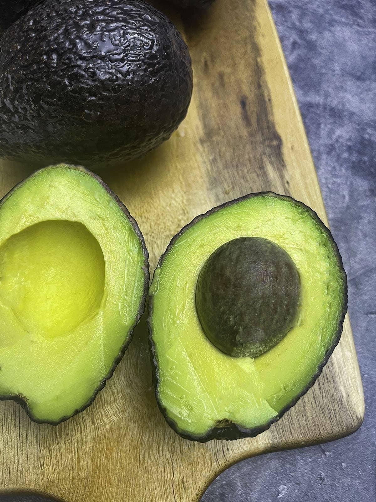 avocado cut into half