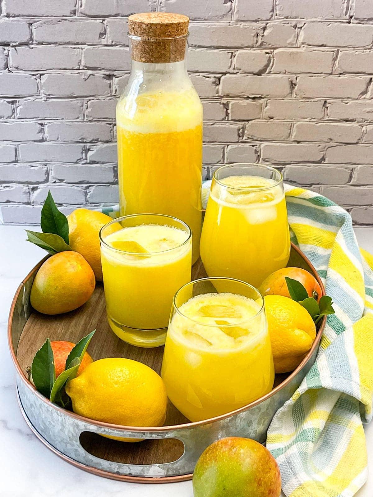 mango lemonade on a platter