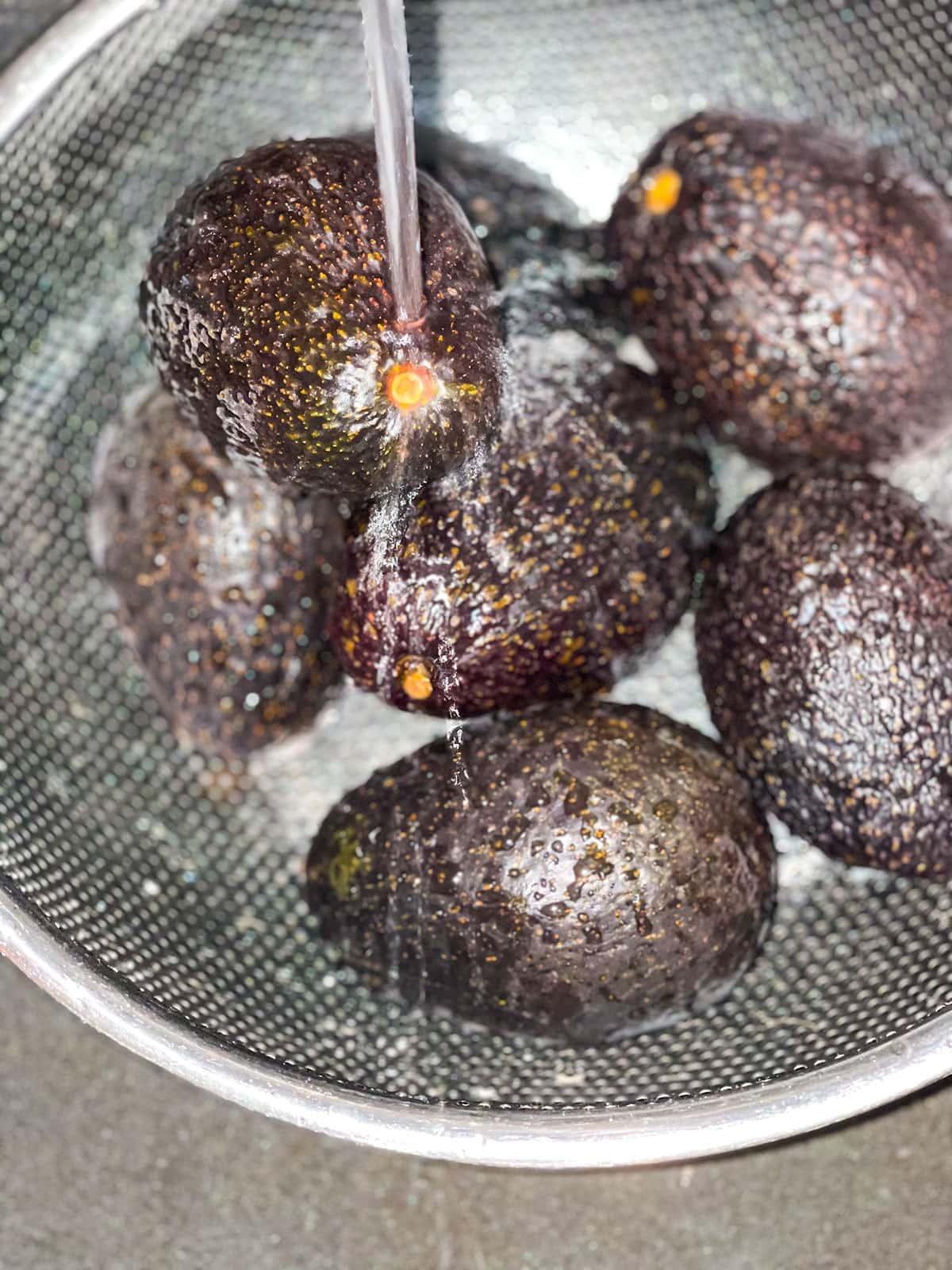 Washing avocado fruits