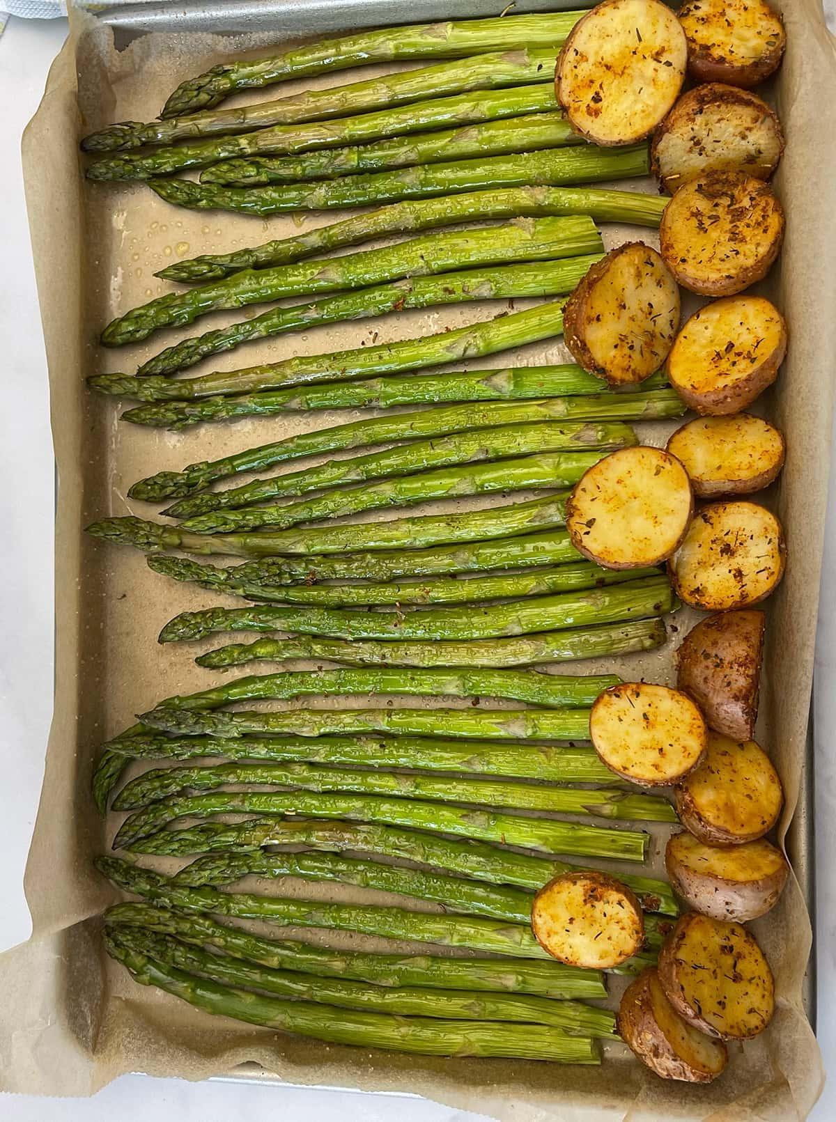 roast potatoes with asparagus