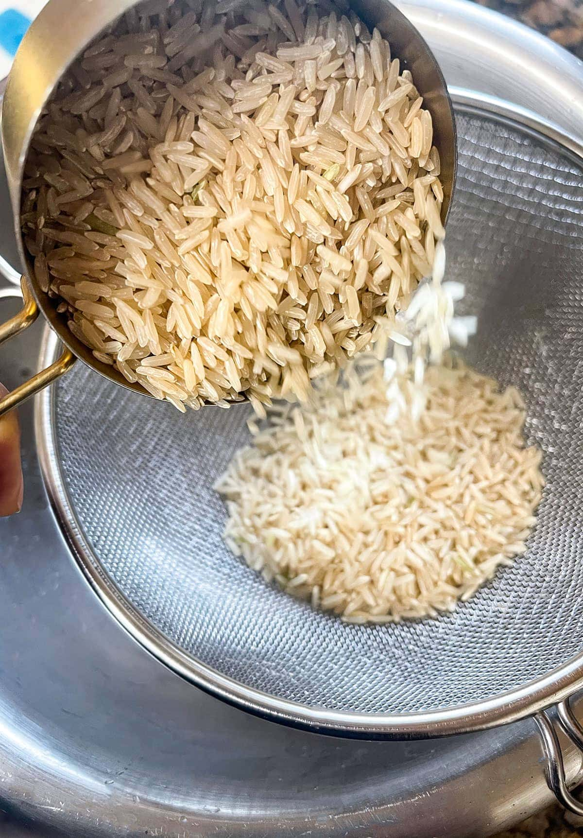 brown Basmati rice washing