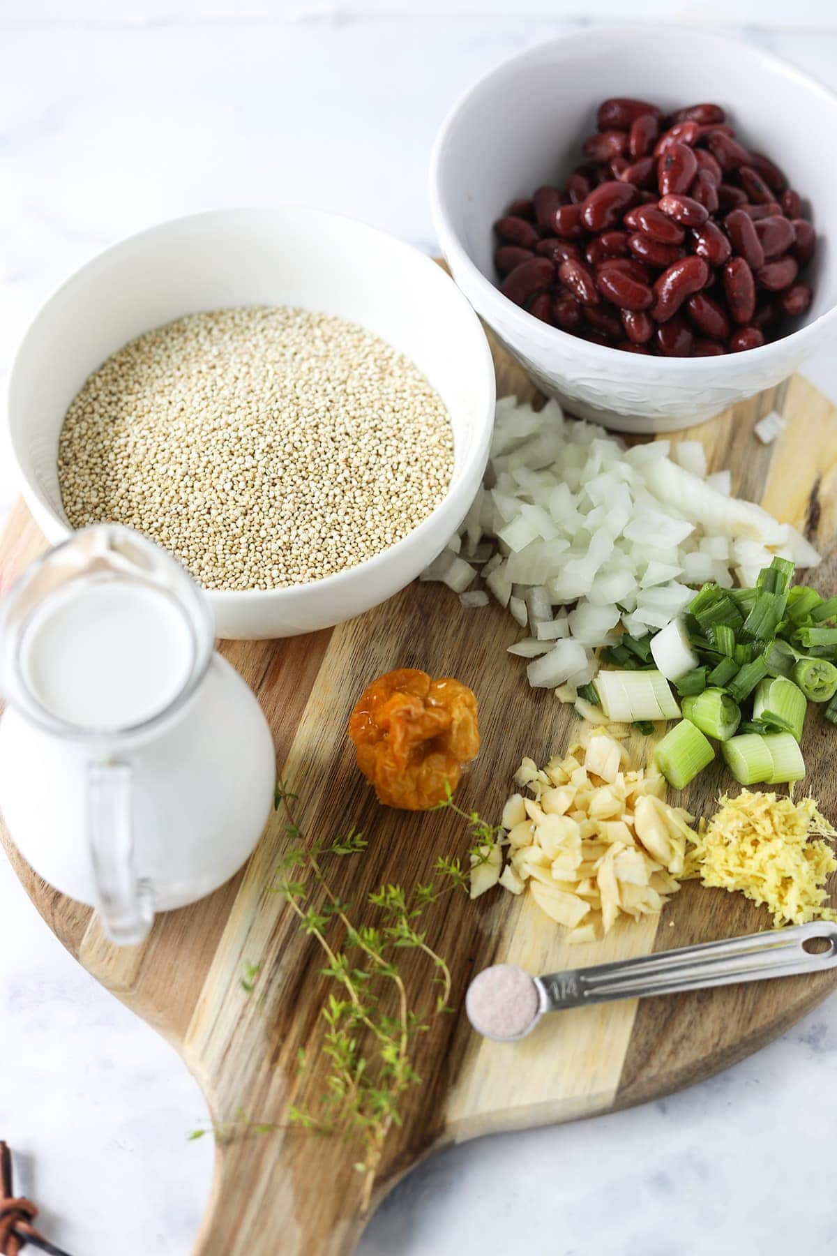 ingredients for Jamaican quinoa and peas, list of ingredients in the recipe card