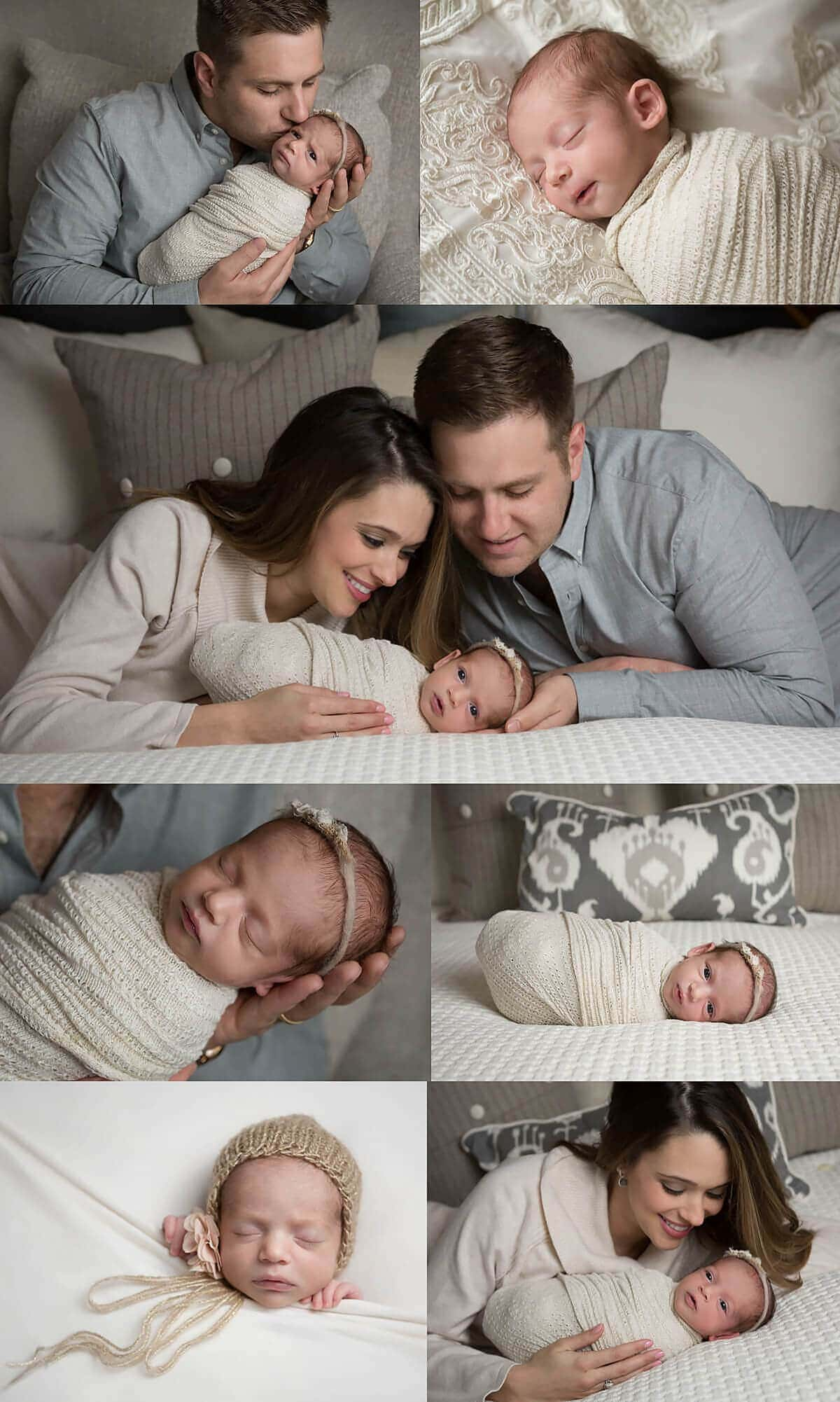Newborn girl at home with mom and dad - gray, cream, gold, taupe