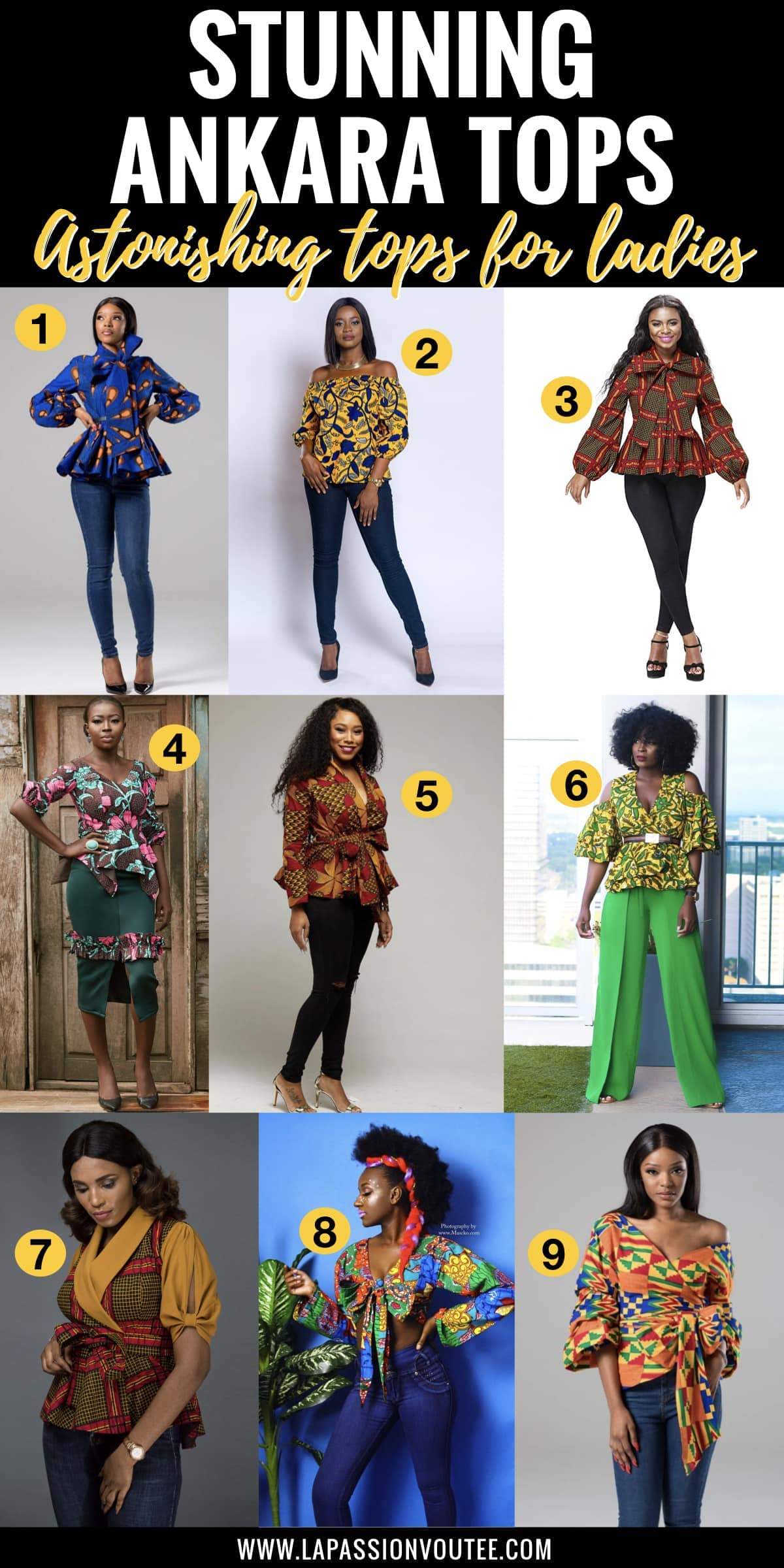 #africanprint #ankarastyles 20 best ankara tops for ladies every African print lover should have in their wardrobe. From affordable ankara peplum tops, and African print crop tops to off the shoulder tops and even more stunning ankara top styles to rock this year. And details on where to African print clothes online for less.