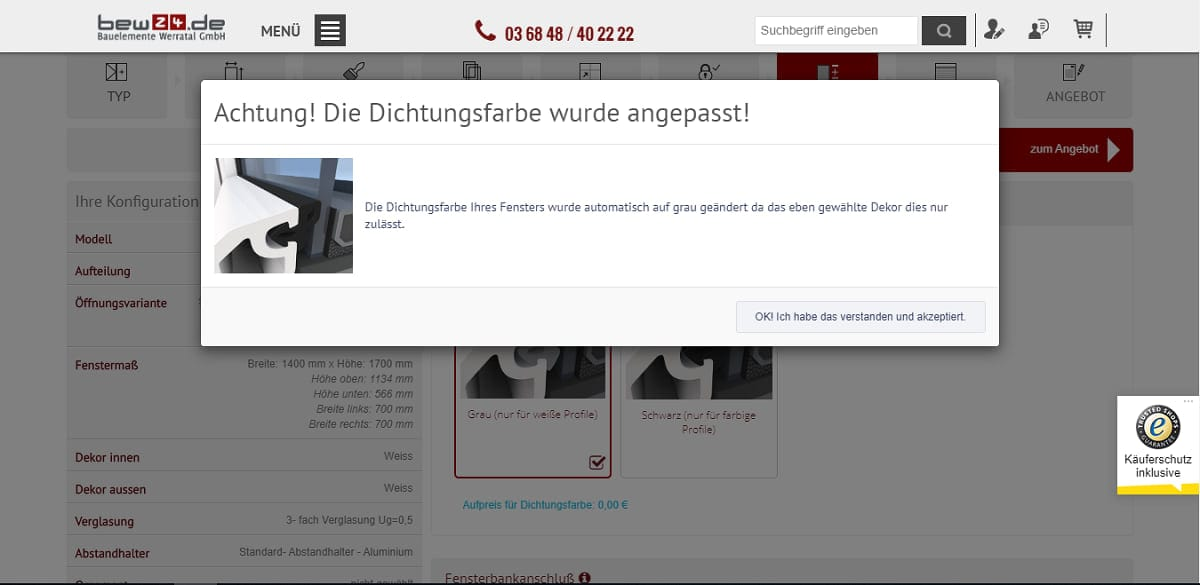 bew 24 ObjectCode GmbH Fensterkonfigurator fenster nach maß passgenau