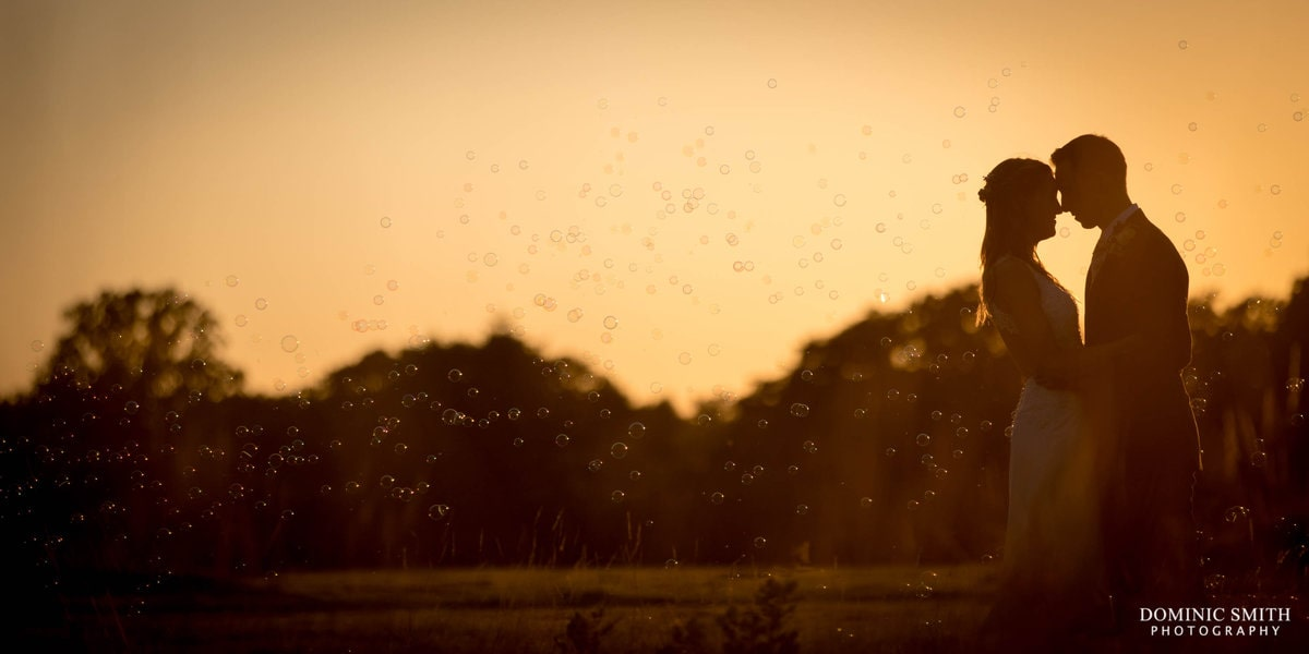 Sunset photo with bubbles at Brookfield Barn