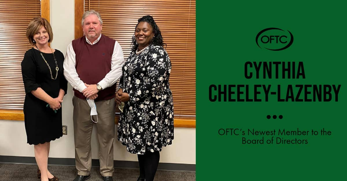 Cynthia Cheeley-Lazenby was inducted to OFTC's Board of Directors on Thursday, November 19. Pictured, L-R: OFTC President, Erica Harden, Washington County Probate Judge, Russell Sheppard, and Cynthia Cheeley-Lazenby.