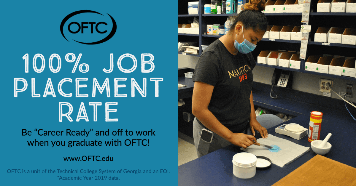 Students who graduate from Oconee Fall Line Technical College (OFTC) are finding jobs according to the College's latest report which shows a 100% job placement rate for graduates in 2019.