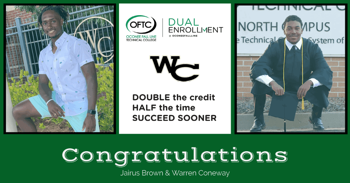 WACO High School seniors Jairus Brown and Warren Coneway will graduate high school with an associate degree thanks to the dual enrollment program at Oconee Fall Line Technical College.