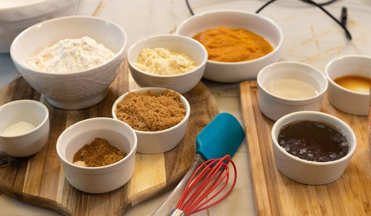 ingredients for gluten-free vegan pumpkin bread
