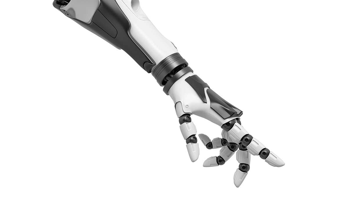 3d Rendering Of A Robotic Arm With Fingers Half Curled And The Index Finger Pointing Out