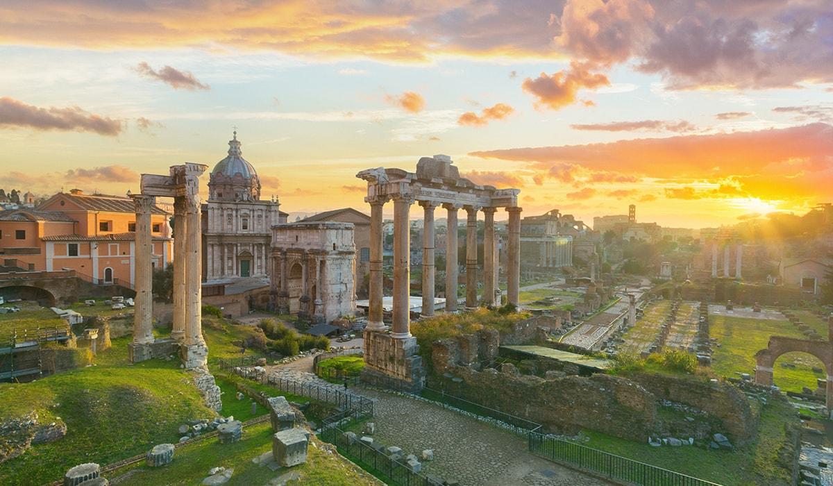 The Roman Forum At Sunrise, Rome, Italy