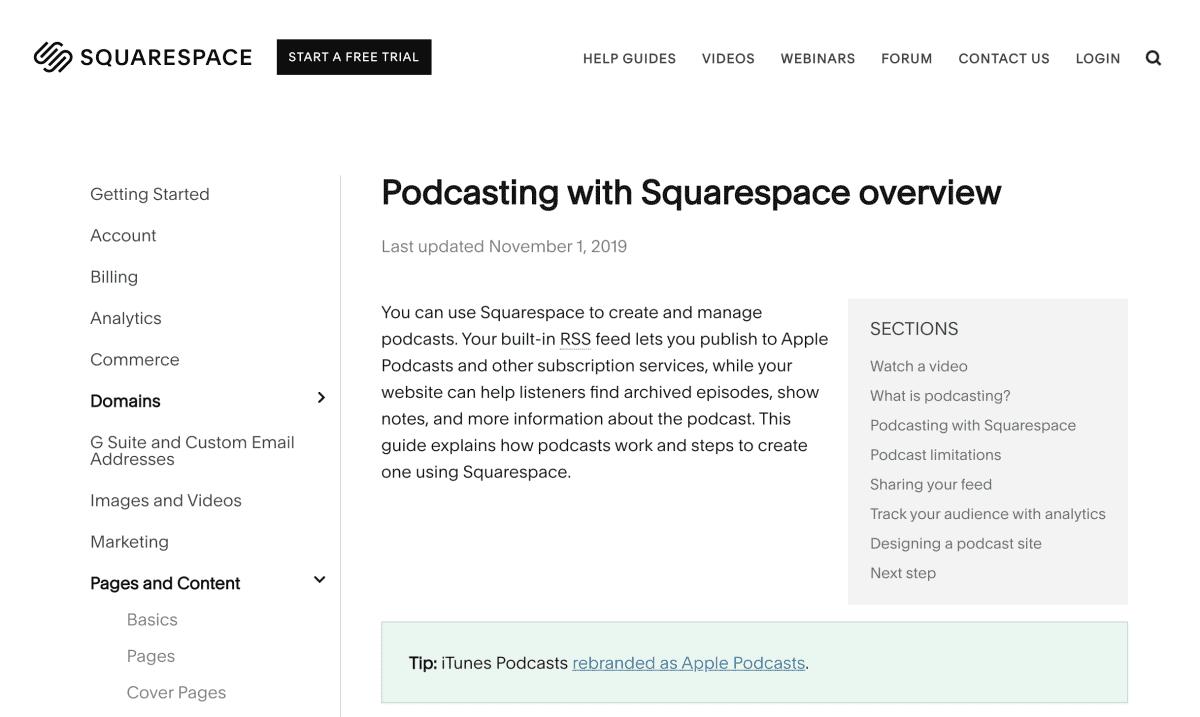 Squarespace Podcast Hosting