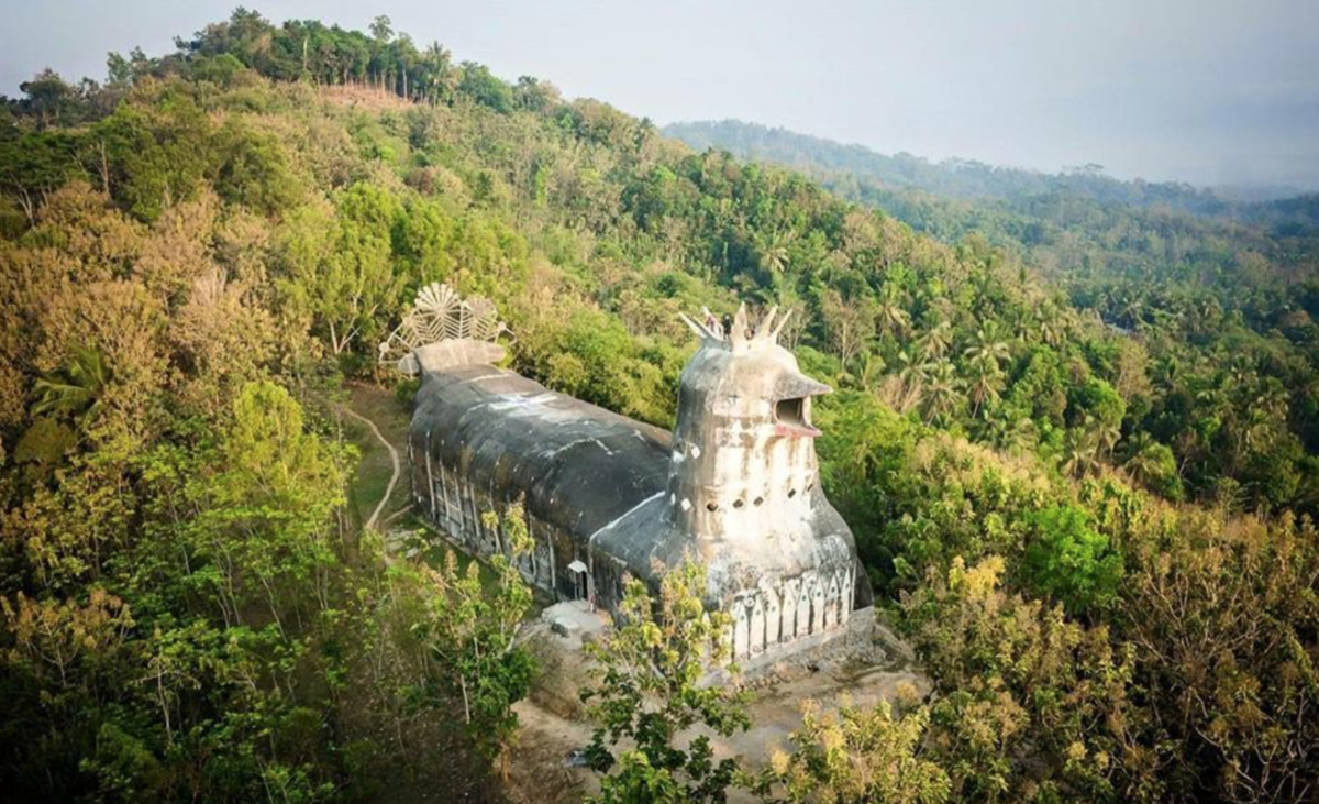 Image: Aerial photo of Gereja Ayam, AKA Chicken Church