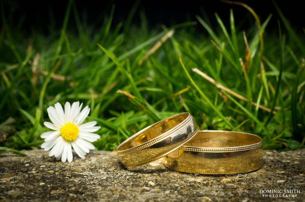 Wedding Rings with a Daisy