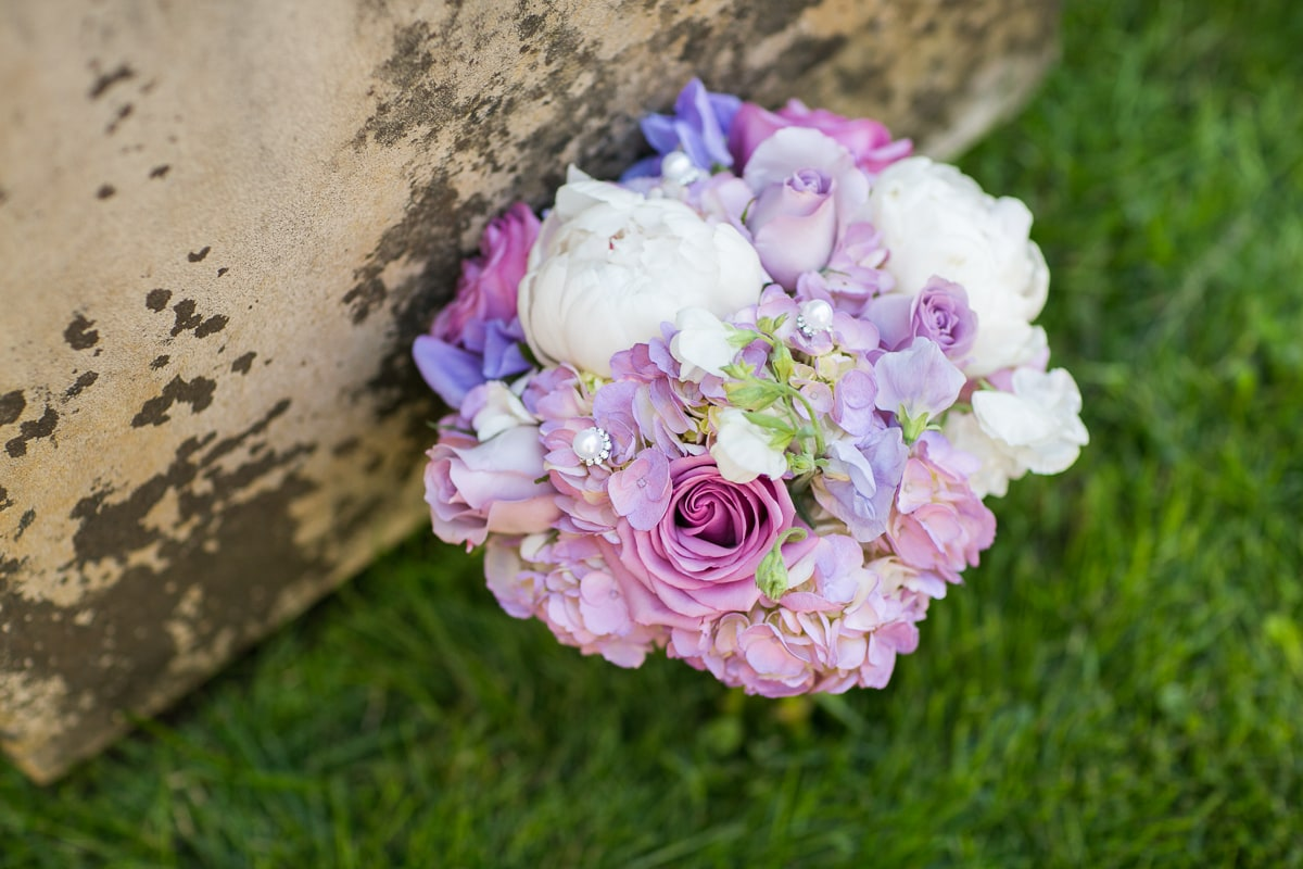 peony, rose, and pearl bridesmaid bouquet