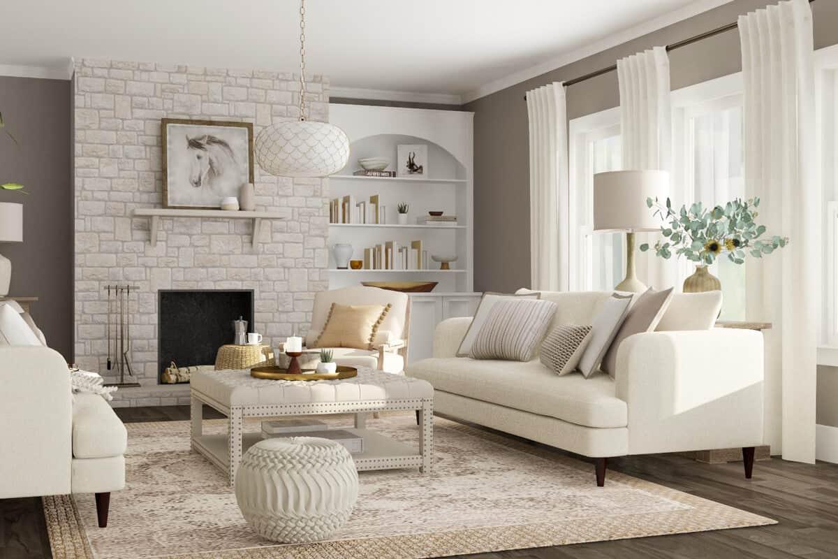 white living room setup