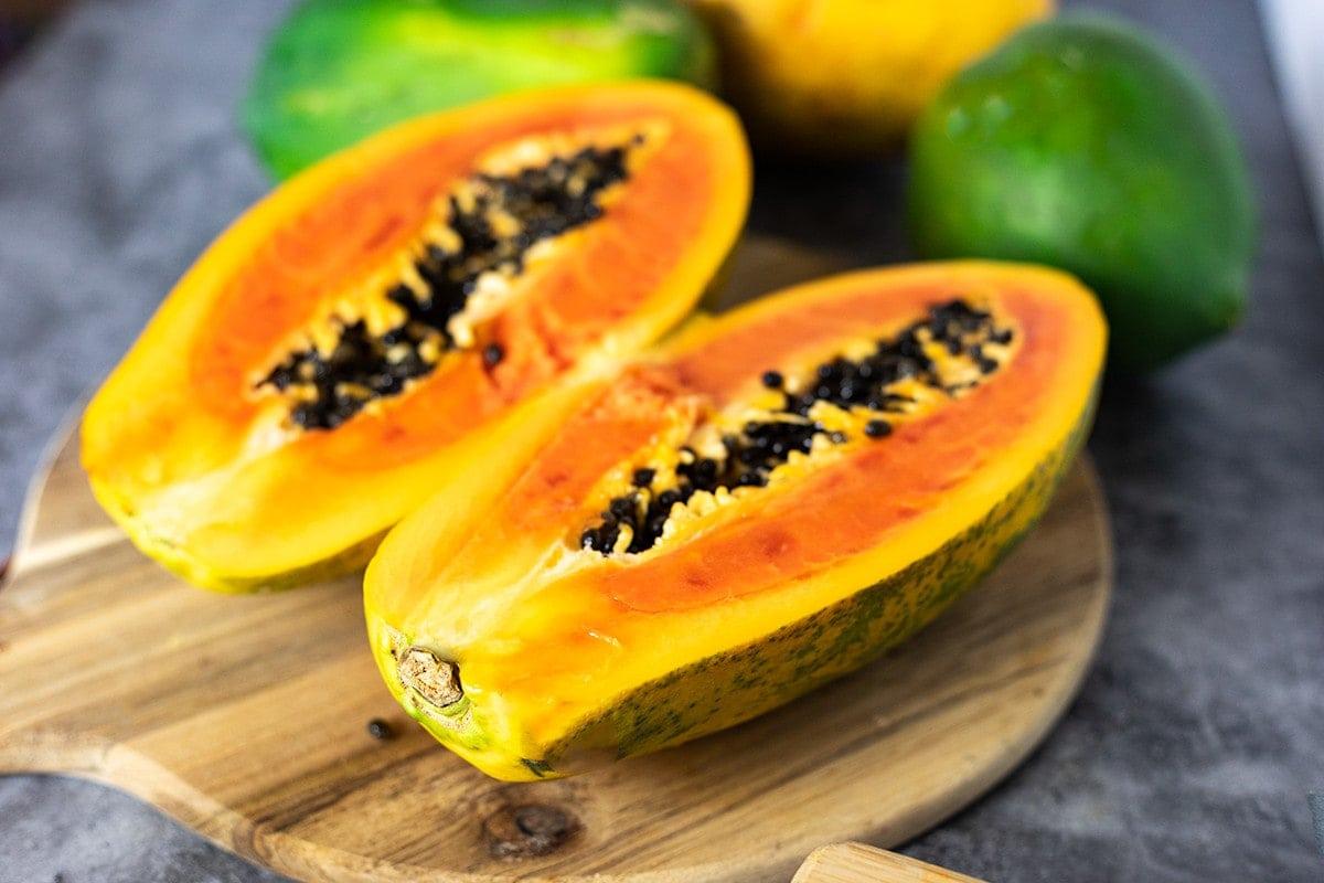 Close up image of papaya