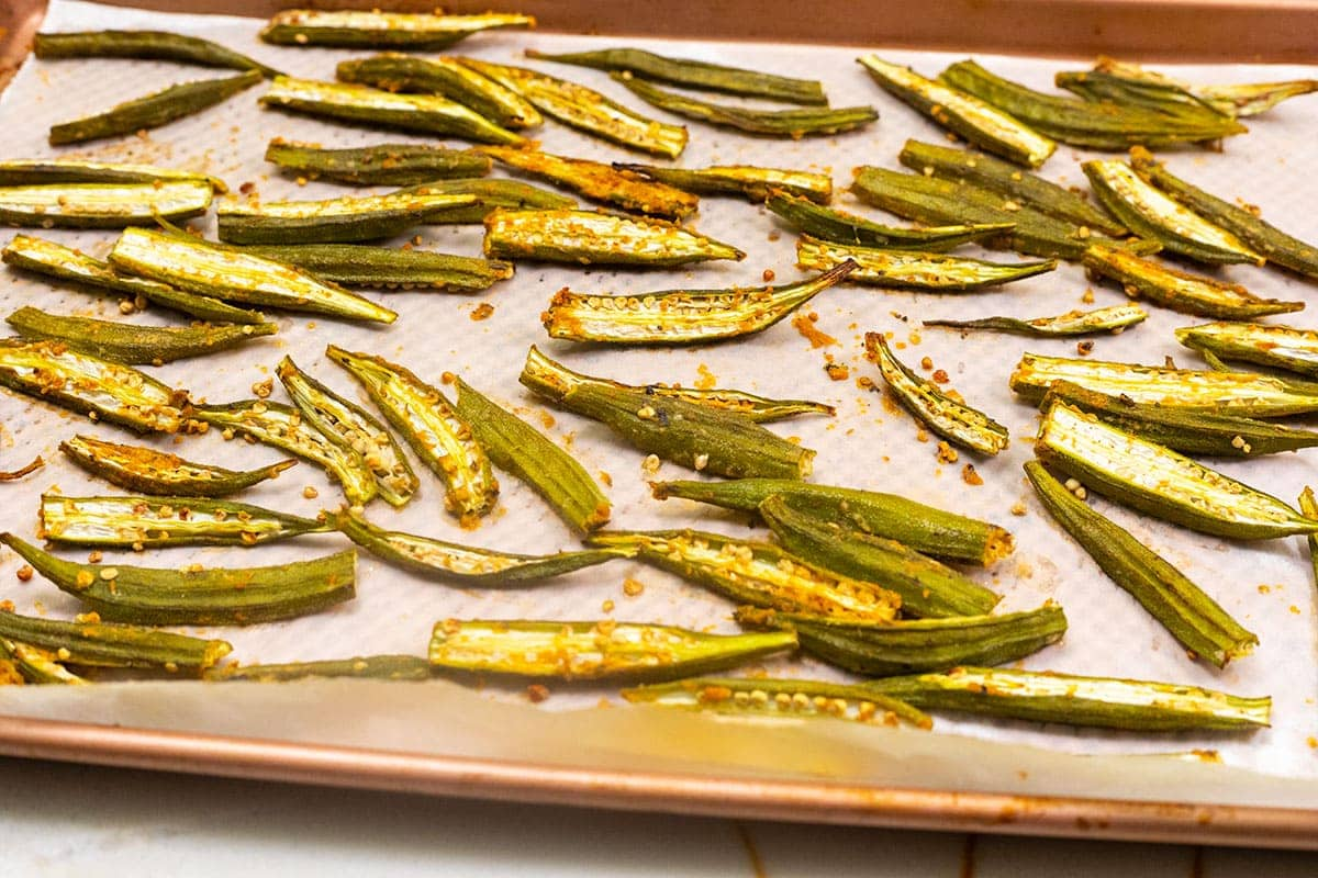 baked okra fries on baking tray