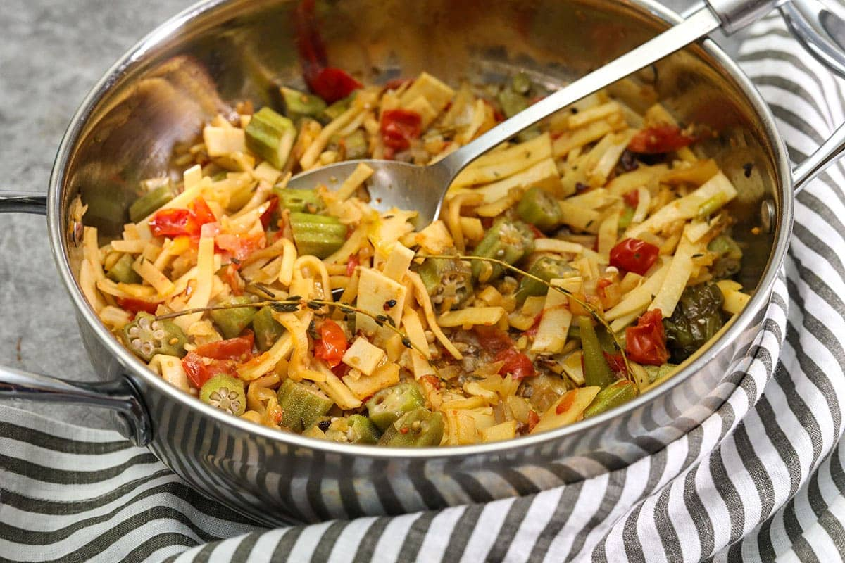 Vegan Jamaican Saltfish And Okra Healthier Steps