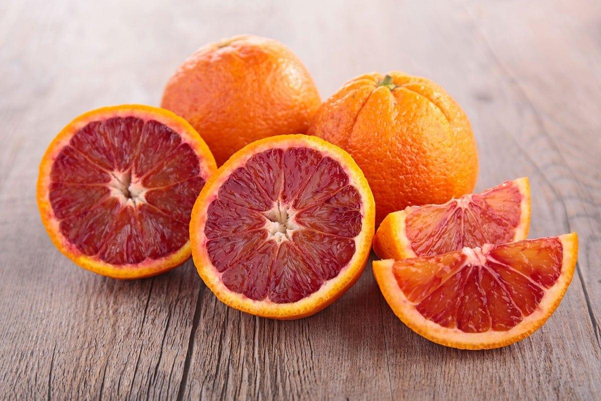 blood orange on a wooden background