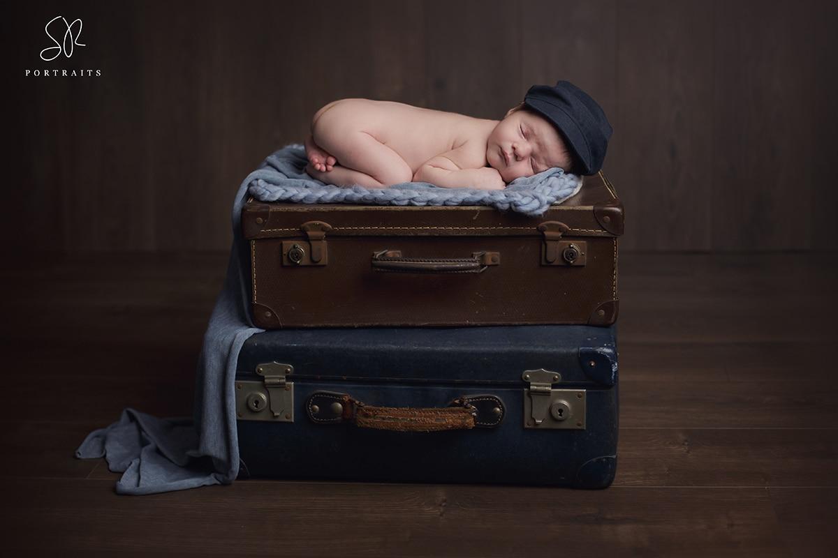Coalville New born Photo Baby on Suitcase