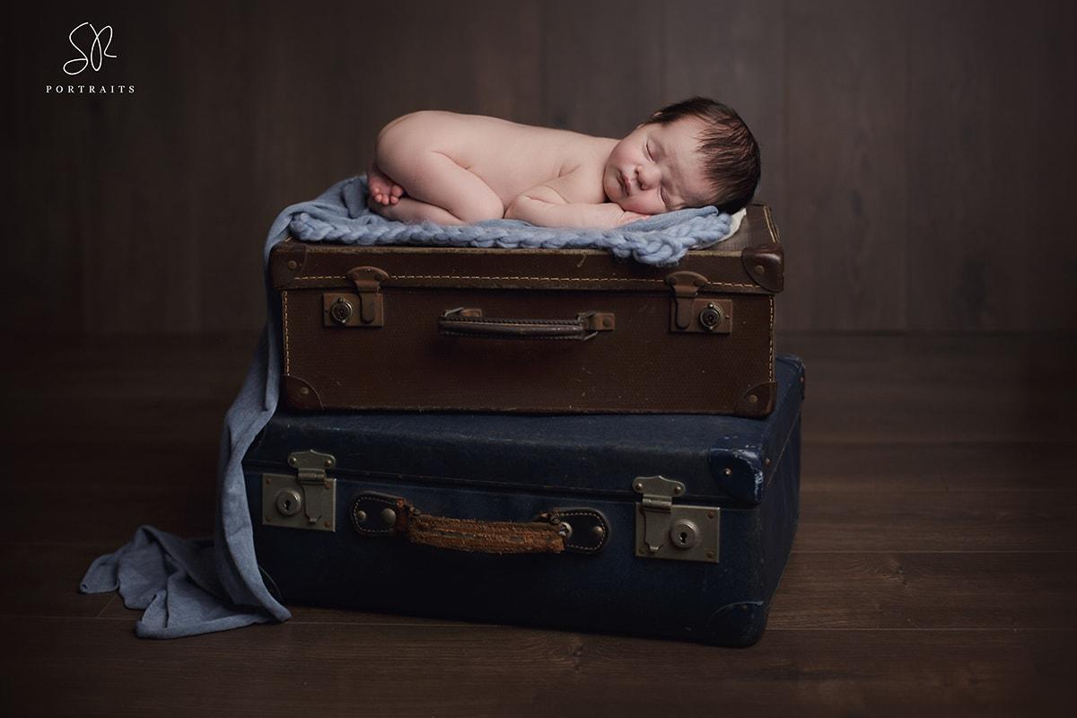 Coalville Newborn Photo Baby on Suitcase