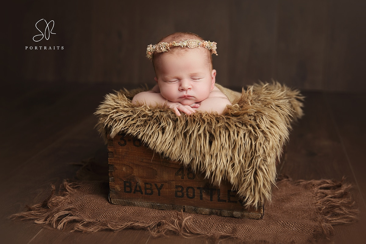 Newborn Baby Photo Shoot Baby in wooden box with halo headband Leicestershire