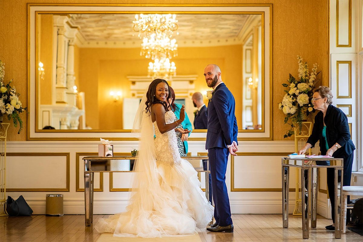 Bride And Groom Ceremony At Holmewood Hall