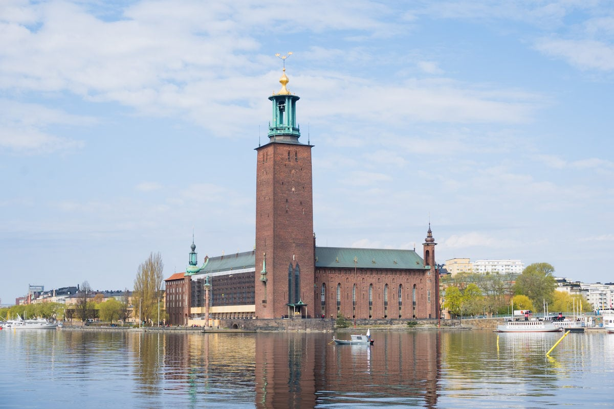 View from the other side of the water of the Stockholm city hall