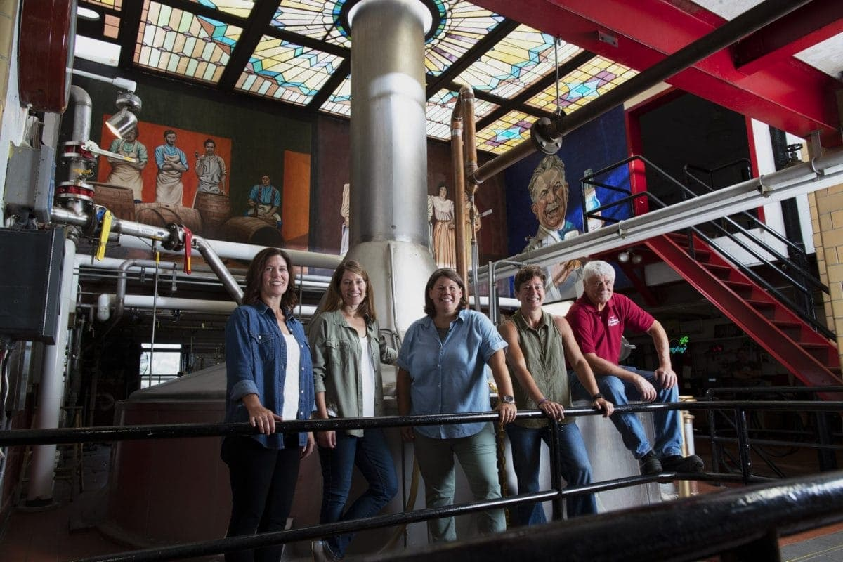 """The Yuengling family, Richard """"Dick"""" Yuengling Jr. and his four daughters, inside the Yuengling brewery."""