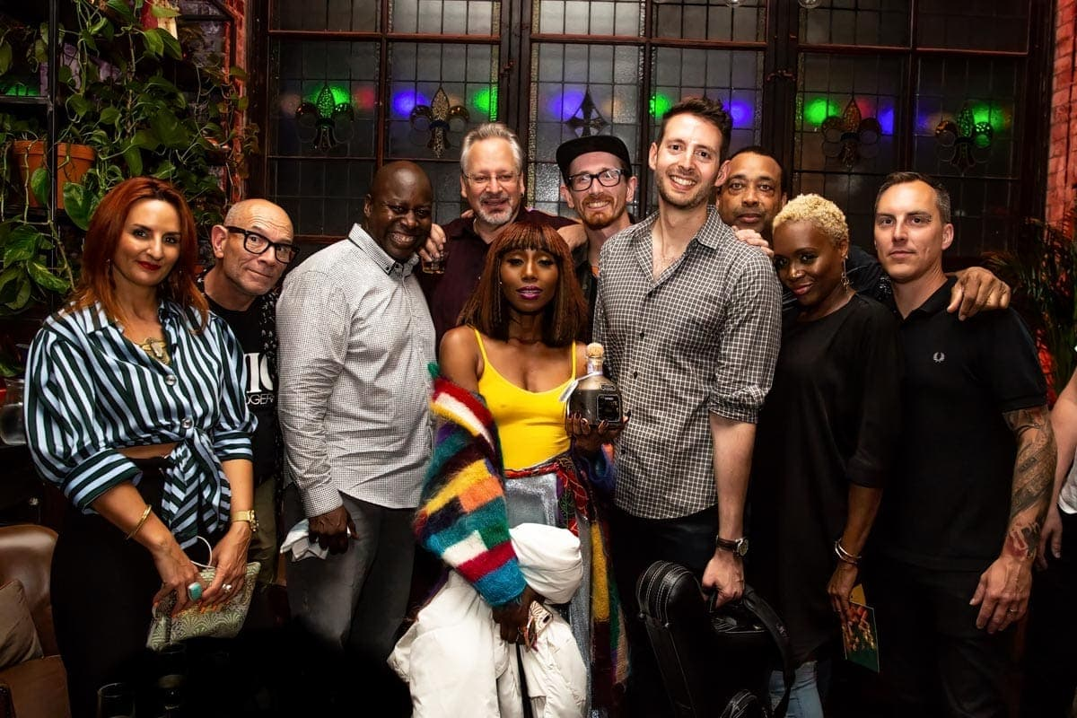 band members of chic enjoying a patron tequila after party