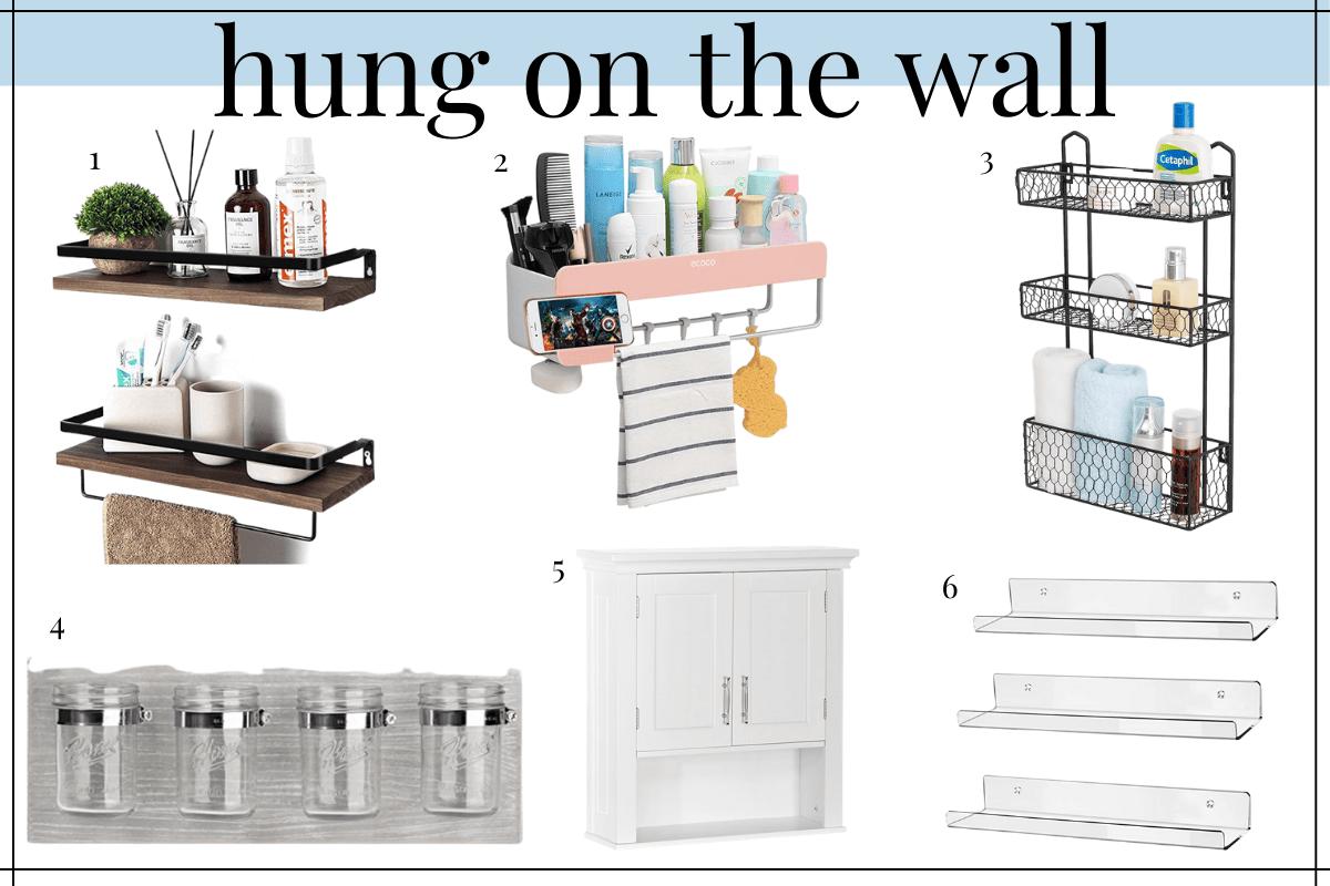 hung bathroom counter organization ideas