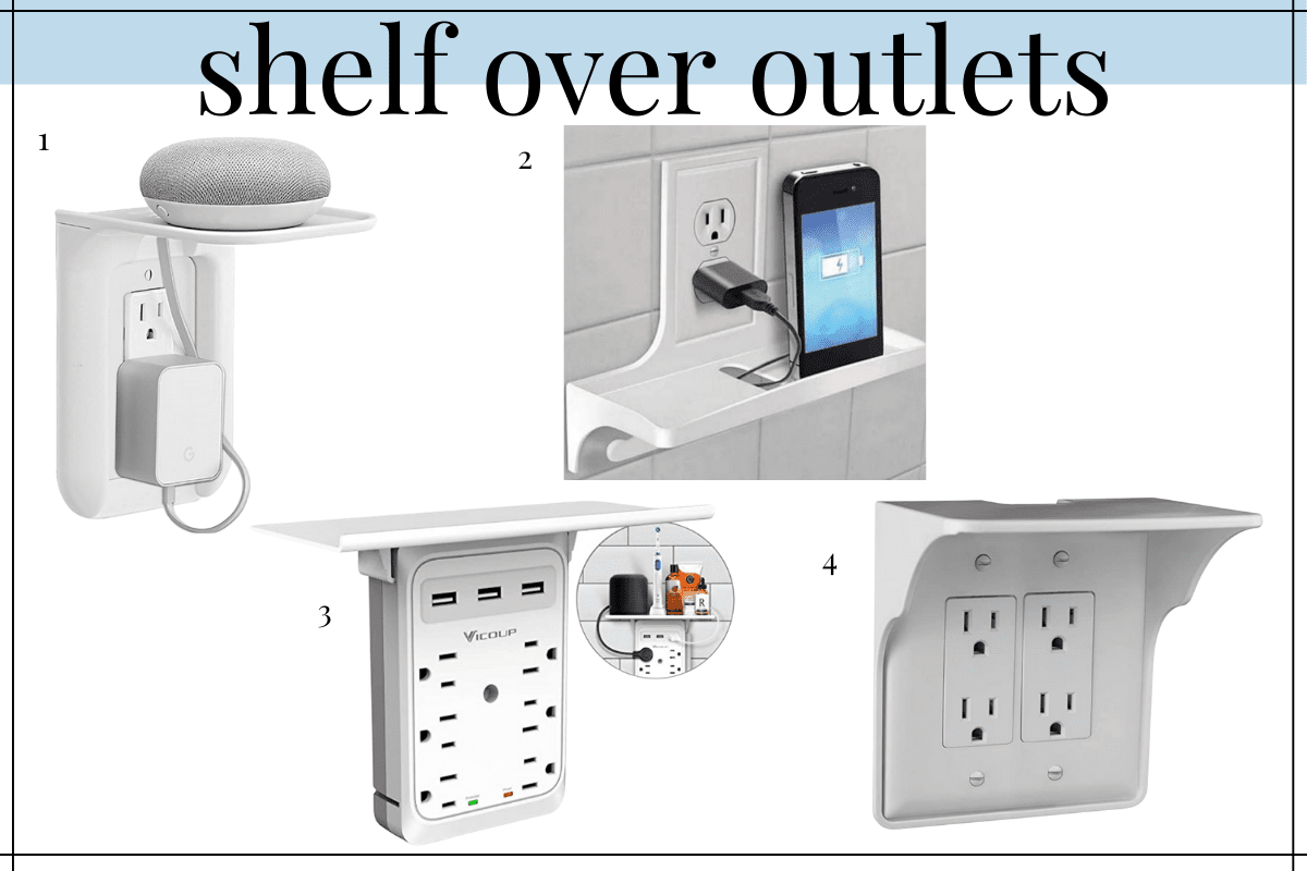 shelf over your outlets is a need to know bathroom counter organization hack