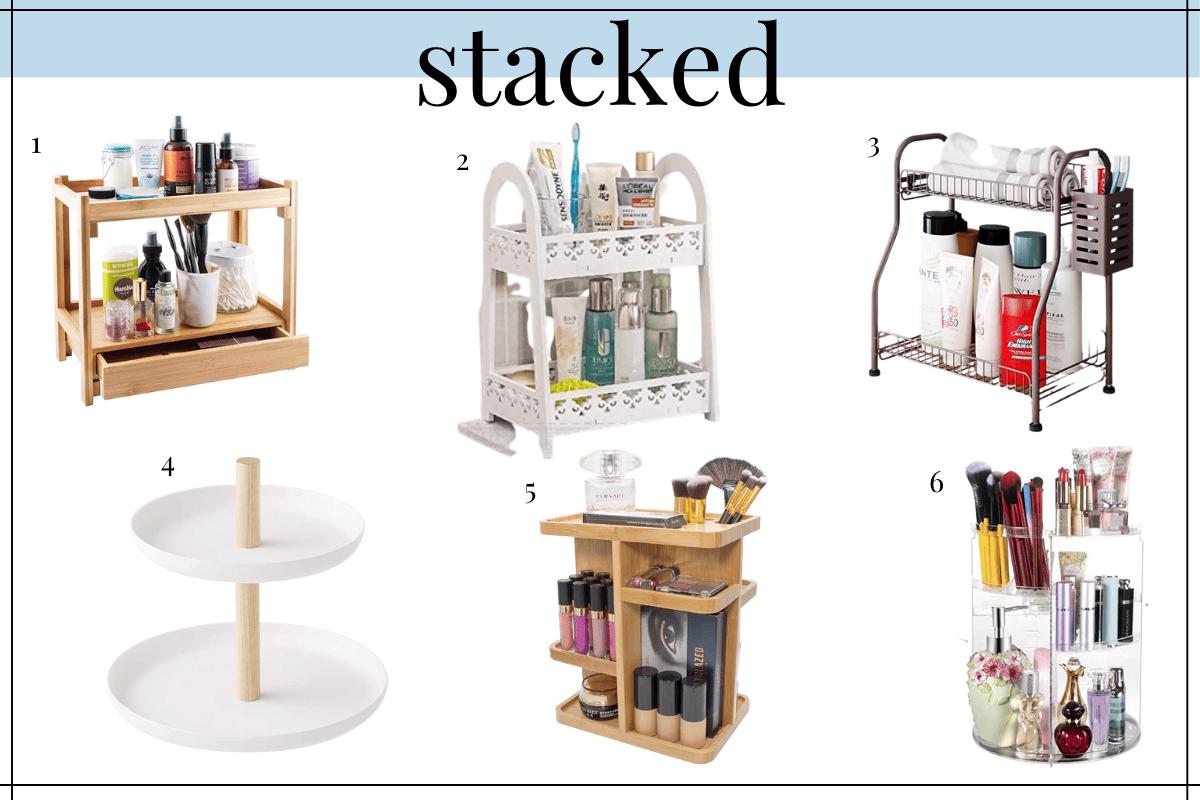 stacked shelving bathroom counter organization ideas