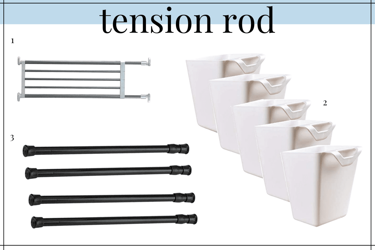 tension rods are great for bathroom counter organization