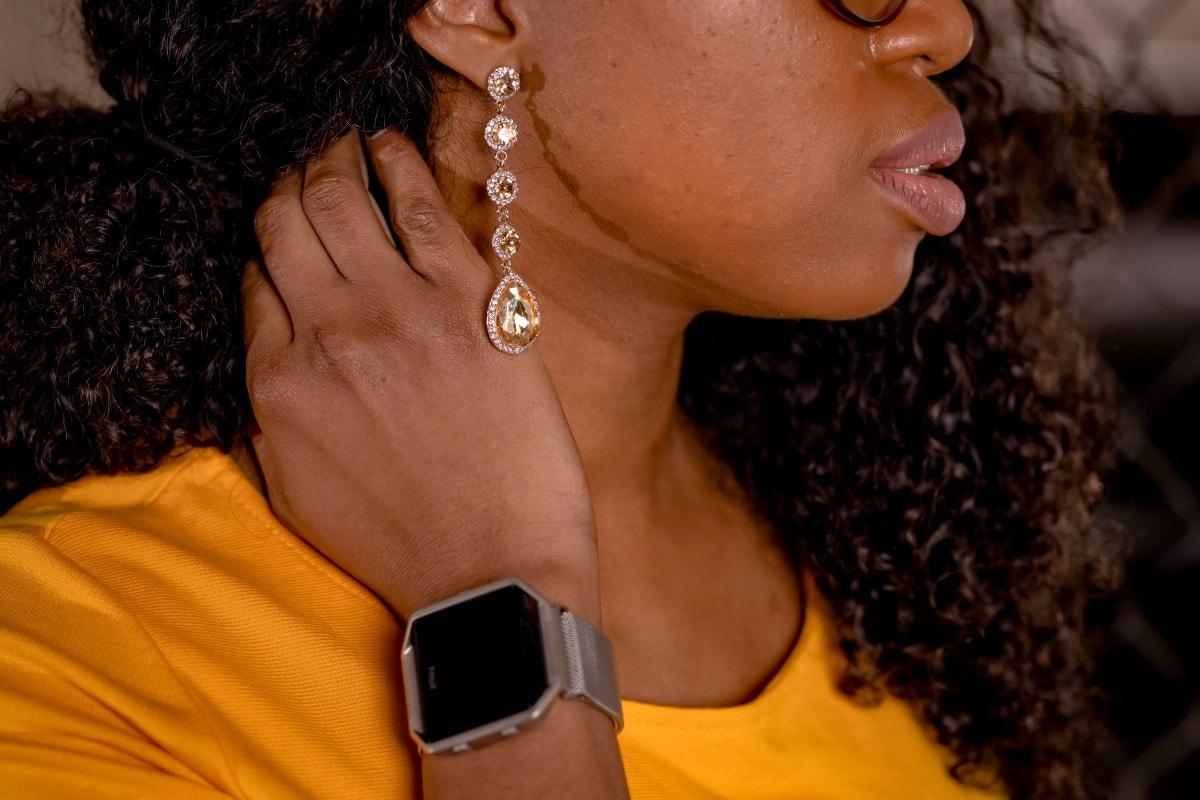 Chandelier earrings with summer dress