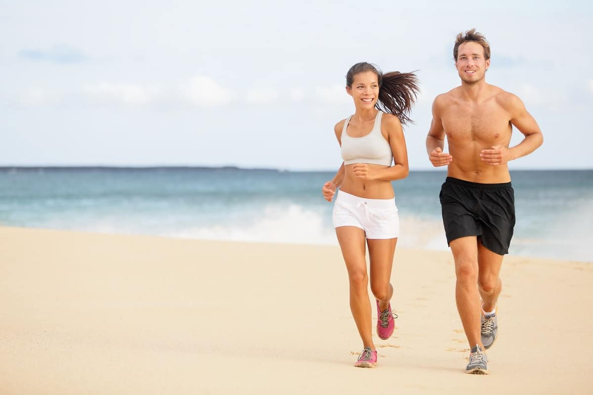 healthy couple running