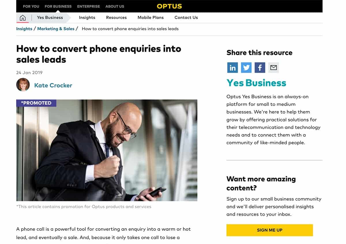 How to convert phone enquiries into sales leads