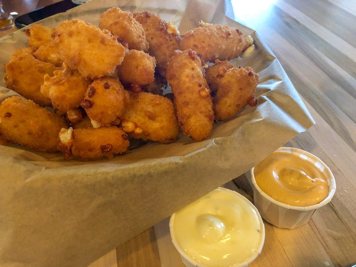 Cheese Curds at Wild Blue Yonder Brewing Co, a craft brewery and brewpub in Castle Rock, Colorado.