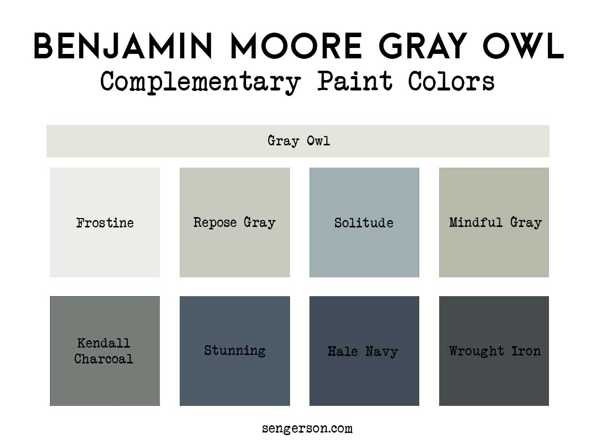 These are some amazing pairings with benjamin moore gray owl - these complementary paint colors are sure to make your room stand out.